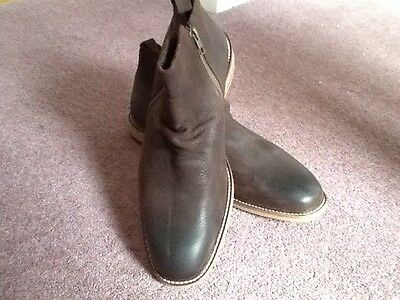 Mens Brown Leather Boots Size 9 (43)