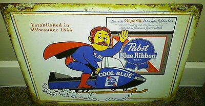 Pabst Blue Ribbon Sign Snowmobile Bar Man Cave...