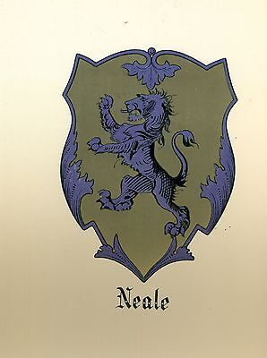 *Great Coat of Arms Neale Family Crest genealogy, would look great framed!