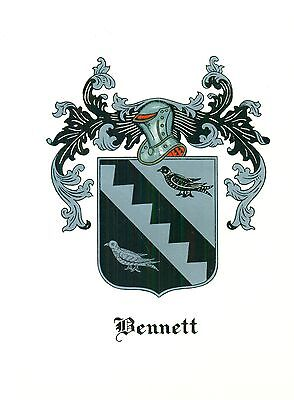 *Great Coat of Arms Bennett Family Crest genealogy, would look great framed!