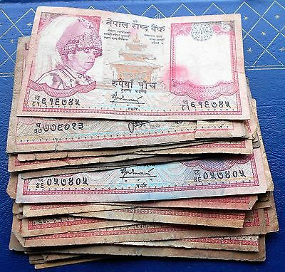 Lot (28) Central Bank of Nepal 5 Rupees Banknotes King Bikram Issues Circ # BX