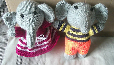 Hand Knitted Soft Toy - Girl And Boy Elephants