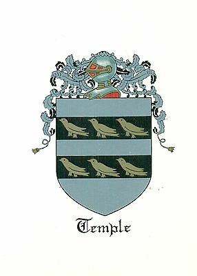 *Great Coat of Arms Temple Family Crest genealogy, would look great framed!