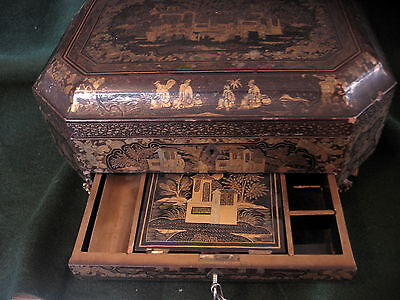 c19th Chinese Lacquer Workbox - No Tools -  c1860 - Rare Item