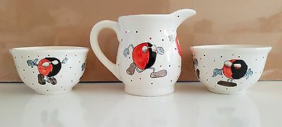 Children's breakfast set -- White pottery pitcher and two bowls. Aliens!