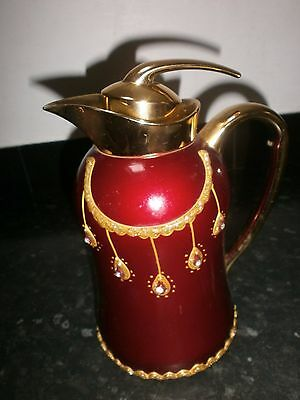 Extravagant Gold And Red Thermos 1 Pint Hot Water Jug, With Glitter And Gems