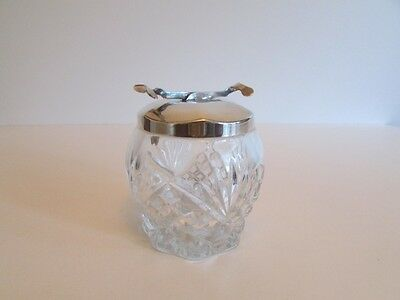 Vintage Cut Glass Sugar Bowl Silver Plated Pascal Integral Tongs