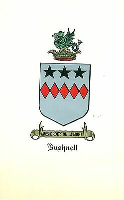 *Great Coat of Arms Bushnell Family Crest genealogy, would look great framed!