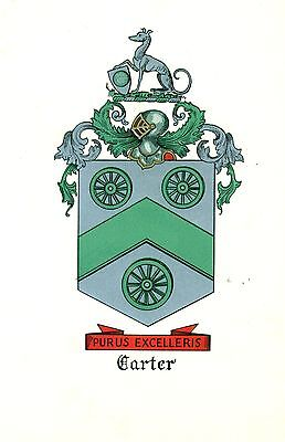 *Great Coat of Arms Carter Family Crest genealogy, would look great framed!