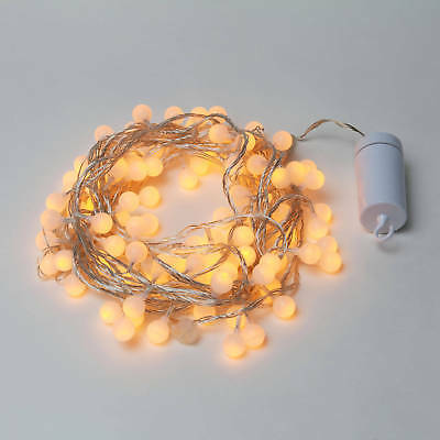 35.5 ft 100 LED Decorative Frosted Warm White Globe Battery String Lights Timer