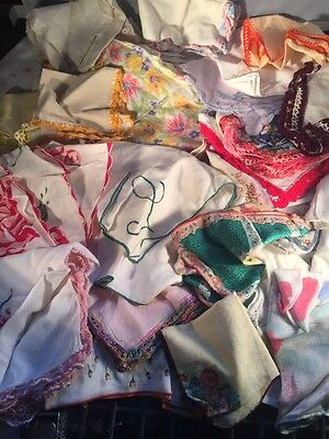 Vtg Ladies Hankies Lot 25 +Floral, Scalloped, Crocheted, Tatted,lace *