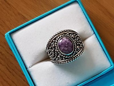 South Western Sterling Silver Charoite Ring size N