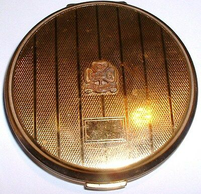 Rare Old Vintage - Girl Guides Badge on Gold Plated Stratton Compact NO RESERVE