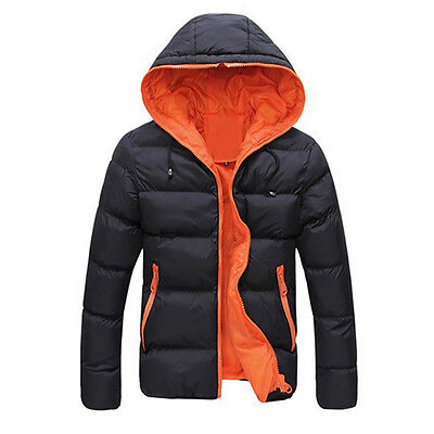 2017 Men Slim Casual Warm Jacket Hooded Thick Coat Parka Overcoat Hoodie OR M