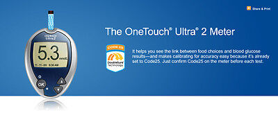 One Touch Ultra 2 Diabetes Blood Glucose Testing Meter W/kit - New.