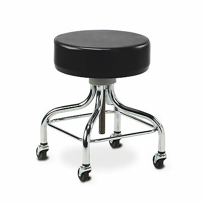 Chrome Base Stool with square foot ring-Black  1 ea