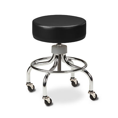 Chrome Base Stool with round foot ring-Black  1 ea