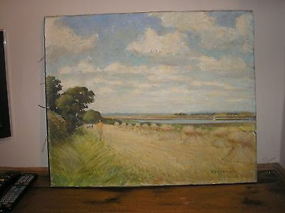 Antique Signed Un-Framed Oil on Canvas Painting by F B Harnack