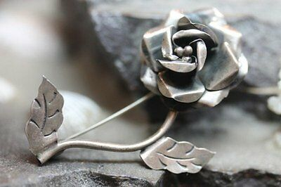 Taxco Mexico Sterling Silver Rose Flower Pin Brooch