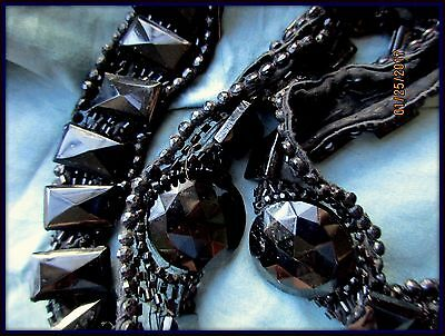 Rare Antique Victorian Handmade Faceted Jet Glass Beaded Sheer Silk Trim Jewelry