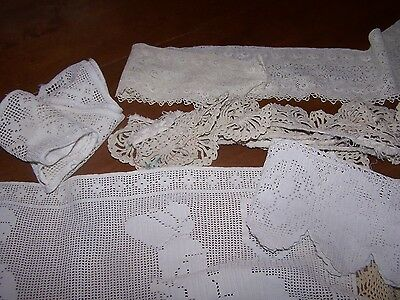 AntIque lot of hand crochet lace trims collars inserts 10 only CLEAN ESTATE