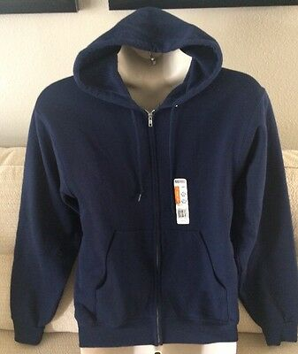 JERZEES NuBlend Mens Size M Navy Blue Zip Front Hoodie Jacket Hooded Sweatshirt