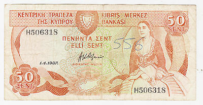 Cyprus 1987 Banknote 50 Cents 9708