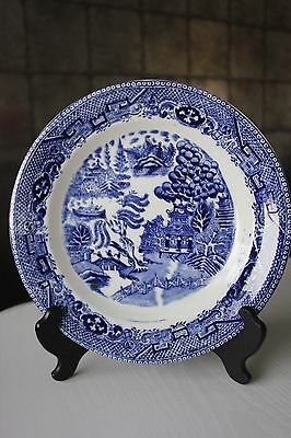 c1800's BLUE WHITE WILLOW PATTERN TRANSFER WARE DINNER PLATE MADE IN ENGLAND X5