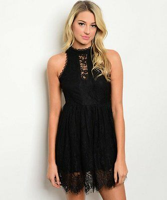 Women Casual Black Dress Mock Neck Lace Mini Sleeveless Tunic Casual Slim