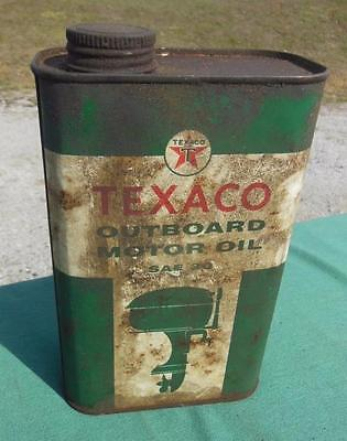 Texaco Outboard Motor Oil Can 1Qt Quart Advertising Gas Station Boat Motor