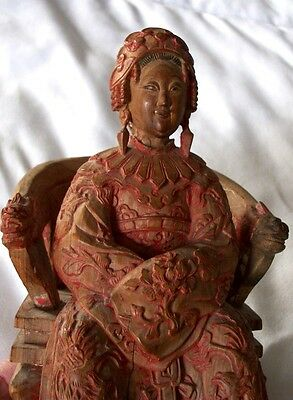 Antique Carved Wooden Figure of Chinese Woman Seated Dowager Empress