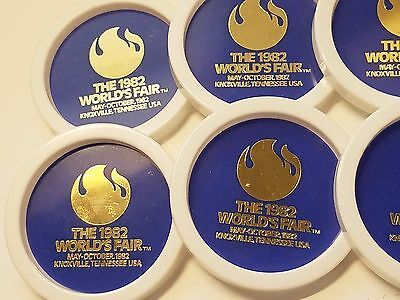 Set of 8 Vintage Coasters with Holder from the 1982 World's Fair in Knoxville