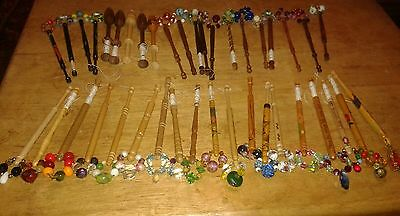Lacemaking Bobbins Wood 40 Various.most Have Bead   Various Colours Some Painted