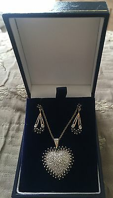 9ct gold Sapphire And Diamond Necklace And Earrings Set