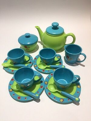 Childrens Plastic Tea Set In Blue And Green
