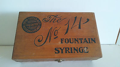 Vintage Dean Foster Fountain Syringe No. 14 Wooden Box