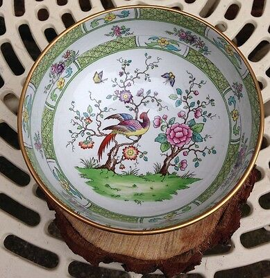 Copeland Late Spode Large Green & White Bowl Oriental Chinese Birds Pattern