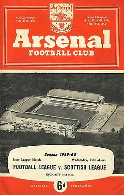 FOOTBALL LEAGUE v SCOTTISH LEAGUE 1959/60 (at ARSENAL)