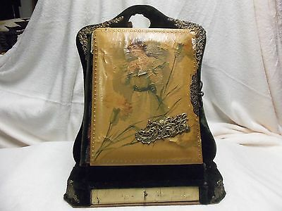Antique Victorian Picture Book With Velvet Stand And Drawer