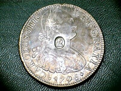Dollar 1795 Mexico 8 Reales Counterstamped George III Logo Die Cud on Portrait