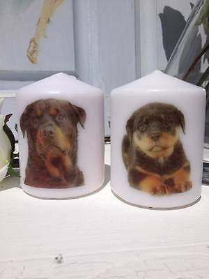 Rottweiler Candles Set of 2 UK Made Dog Lovers Gift Memorial