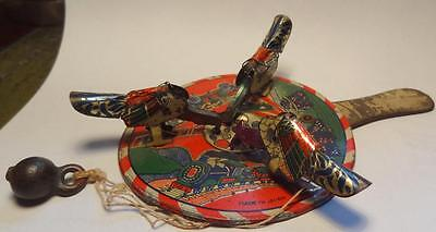 Vintage Japanese Tin Plate Pecking Chickens Paddle Toy