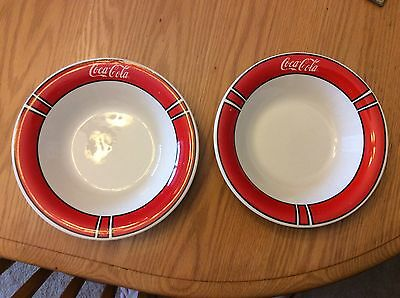 Lot Of 2 Coca Cola Soup Bowls By Gibson, 1996
