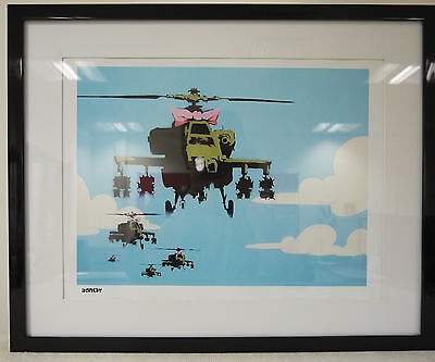 Banksy Limited Edition Framed Print Happy Copters Print Brand New