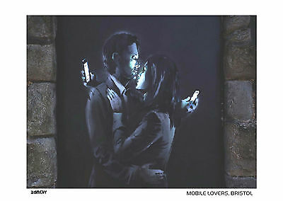 Banksy Print Limited Edition Framed Print Mobile Lovers Brand New Latest Images