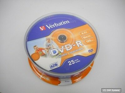 picture about Printable Dvd Rohlinge referred to as VERBATIM 43538 - DVD-R 4.7GB 16x Pace, 25er Printable Spindel DVD-Rohlinge, NEU