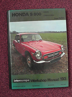 Honda S800 Workshop Manual Coupe & Convertible 1969 on. Excellent