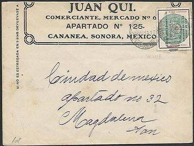 MEXICO 1913 SONORA 5c on cover Cananea to Magdalena........................10458