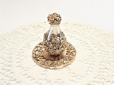 Miniature Floral Perfume Bottle With Matching Tray