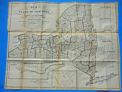 1850 ORIGINAL LARGE STATE OF NEW YORK CENSUS MAP -from VALENTINES MANUAL 1851